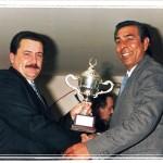 """Entrega de trofeos en la Sede de la Sociedad """"El Halcón"""". Antonio Martínez y Juan Santiago."""