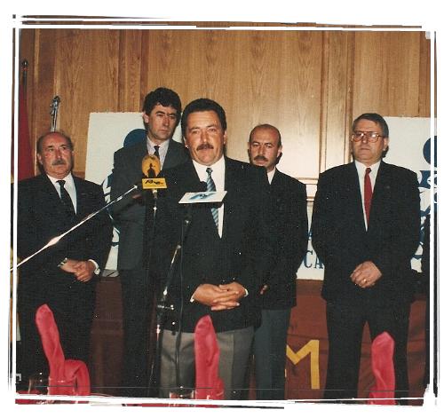 Antonio Martínez.   Detrás de izquierda a derecha, Antonio  Losada, Tomás Herrera y Salvador Pagán.