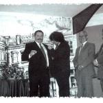 Insignia a Antonio Martínez, entrega Canela de San Roque. De izquierda a derecha Paco Pérez, Francisco Heras y Braulio López (Socios Fundadores).