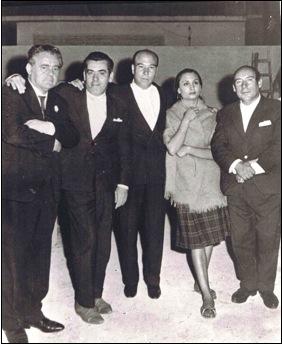 """De izquierda a Derecha. Palanca, Chato Méndez, Antonio """"El Chaqueta"""", Adela Vargas y Brillantina."""