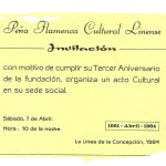 Invitación inauguración Sede en Nave Prefabricada junto al Mar de Poniente, donde hoy está ubicada la escultura de Camarón. 22.01.1983.